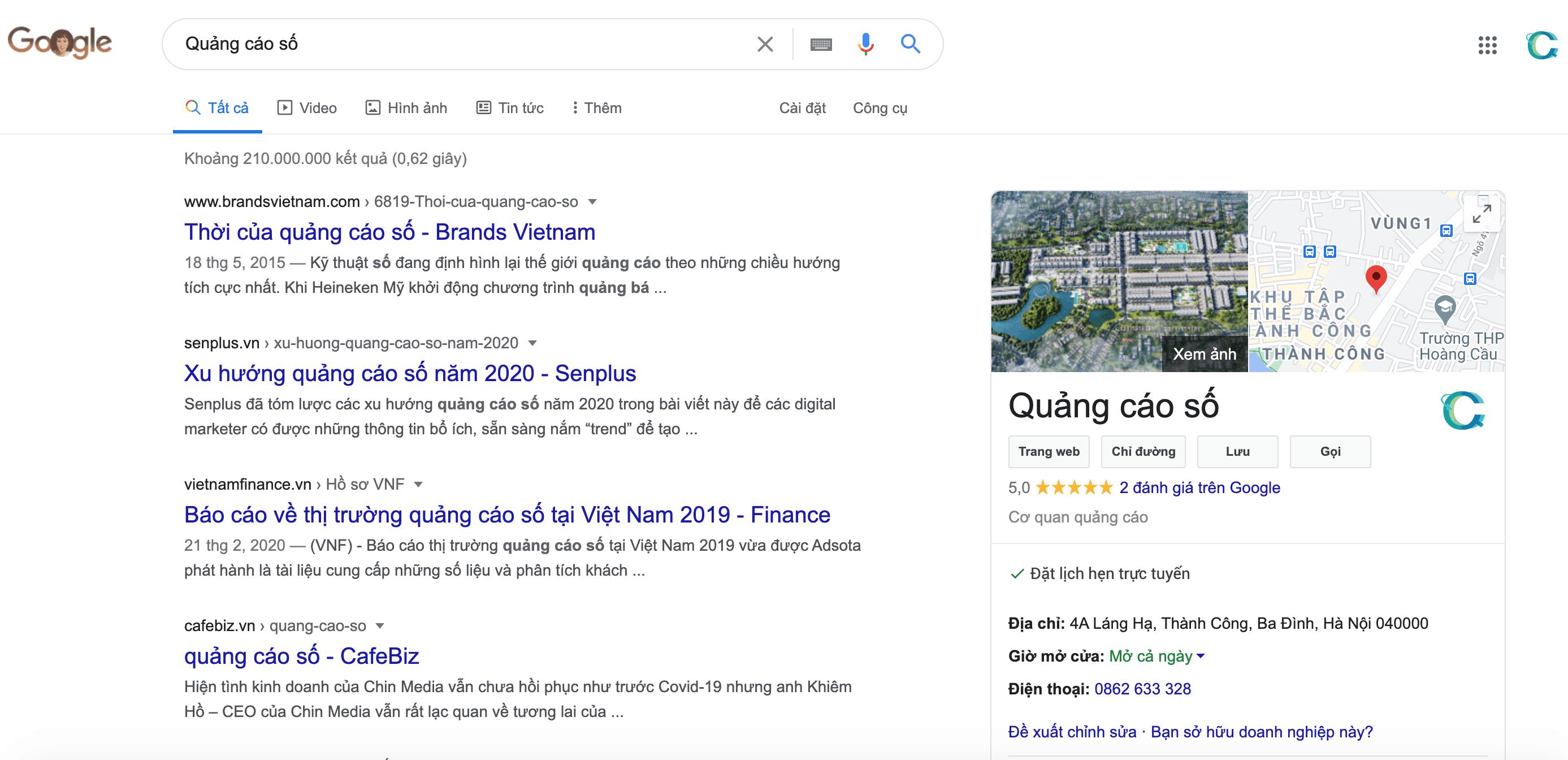 Thông tin Quảng Cáo Số sau khi đã được xác minh trên Google Maps